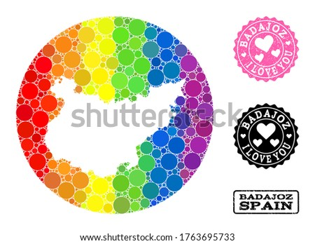 Vector mosaic LGBT map of Badajoz Province of round items, and Love watermark stamp. Hole round map of Badajoz Province collage designed with circles in various sizes,