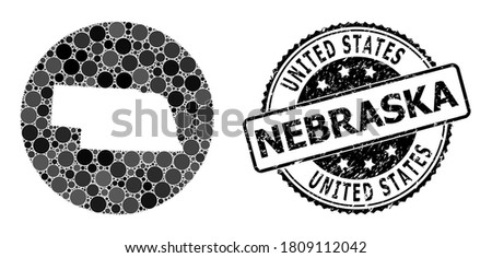 Vector mosaic map of Nebraska State from round spots, and grey watermark seal. Hole round map of Nebraska State collage composed with circles in various sizes, and dark grey color tinges. Photo stock ©