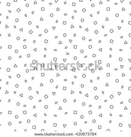 Vector mosaic seamless pattern with contour geometric shapes. Retro memphis style, fashion 80-90s.Black and white texture.