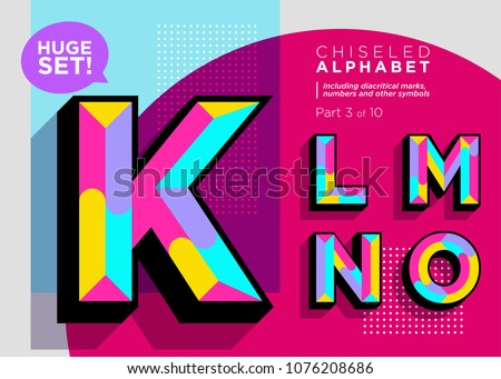 Vector Mosaic Typeset. Textured Geometric Type. Trendy Polygonal Typography for Music Poster, Club Flyer, Fest Invitation, Game Design. Retro Vibrant Alphabet. Colorful Hipster Background. Funky Font.