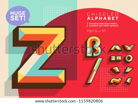 Vector Mosaic Typeset. Textured Geometric Type. Trendy Retro Typography for DJ Music Poster, Club Flyer, Fest Invitation, Game Design. Old Vintage Alphabet. Colorful Hipster Background. Funky Font.