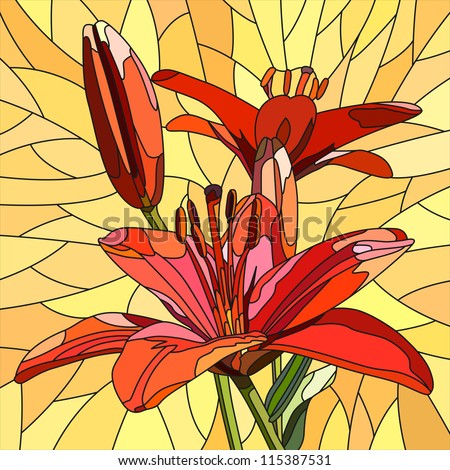 Vector mosaic with large cells of brightly red lilies with buds on yellow.