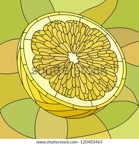 Vector mosaic with large cells of yellow half lemon on light green.