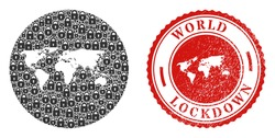 Vector mosaic world map of locks and grunge LOCKDOWN seal. Mosaic geographic world map constructed as hole from round shape with black locks. Red watermark with grunge rubber texture and LOCKDOWN tag.