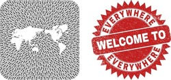 Vector mosaic world map of motion arrows and grunge Welcome seal. Mosaic geographic world map created as carved shape from rounded square shape with delivery arrows.