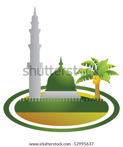 vector mosque, the mosque walls and palm trees