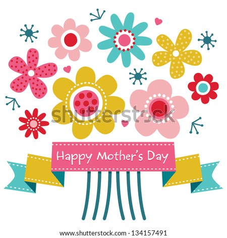Vector Mothers Day card in bright colors, with vintage ribbon banner and retro style flowers. Also great for birthday, thank you, social media, web banner.