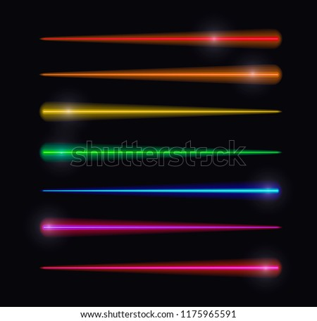 Vector Motion Lights, Abstract Glowing Lines, Rainbow Colors, Isolated on Black Background Set.