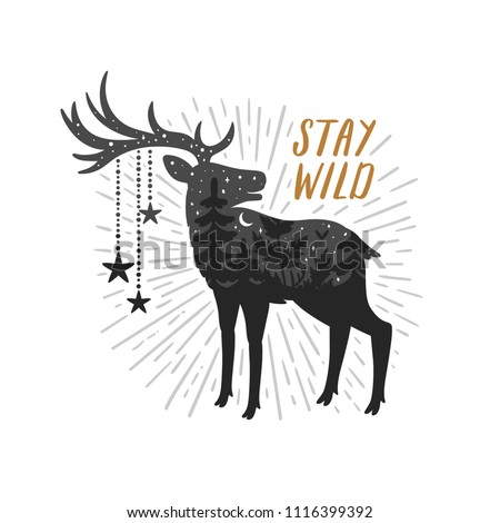 Vector motivation card with deer silhouette, sunbursts and text