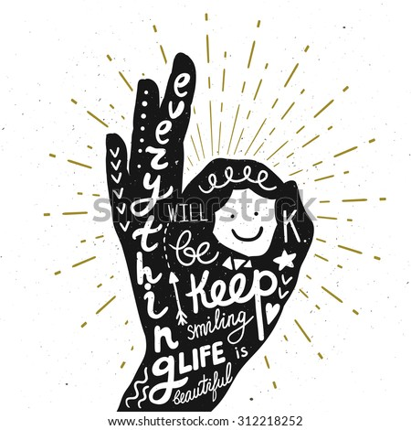 Vector motivation card with hand silhouette, sunbursts, and text