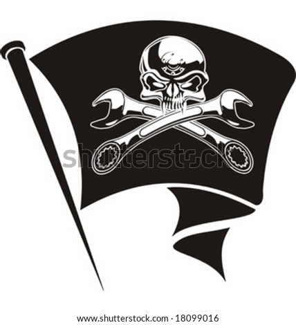 Vector moto-Jolly Roger flag. EPS-8 separated by layers for easy edit