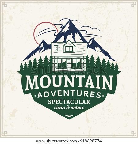 Vector mountain and outdoor adventures logo.