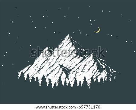 vector mountain at night