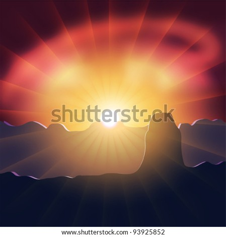 Vector mountain landscape, sunset. #93925852