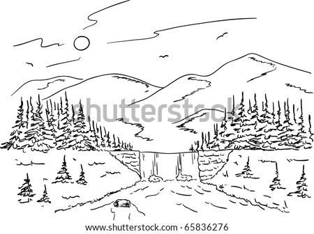 vector - mountain landscape with a waterfall on the creek