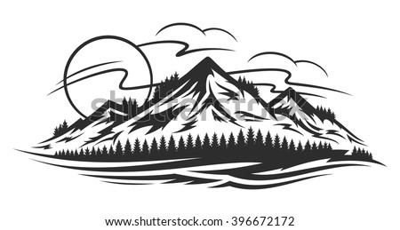 vector mountain landscape with