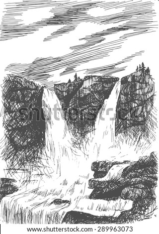 Vector mountain landscape with waterfall by hatching in eps, nature scetch, waterfall poster