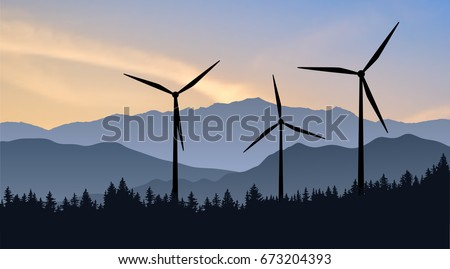 Vector mountain landscape with wind turbines towering over the forest. Silhouettes of modern windmills in natural environment as symbol of ecological renewable power. Green energy of the future