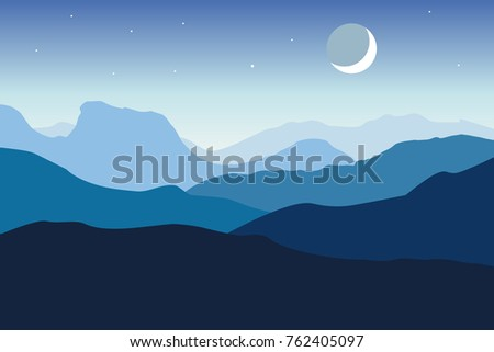 vector mountain moon landscape