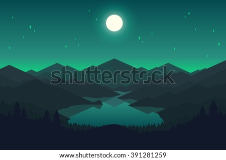 vector mountains and forest