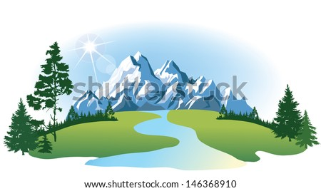 vector mountains and green