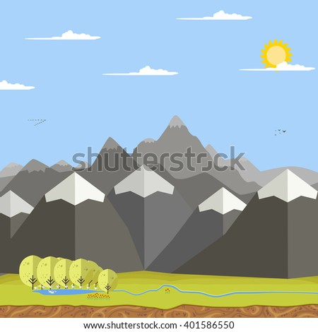 vector mountains and valley