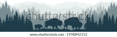 vector mountains forest woodland background texture seamless pattern with family of brown zubr buffalo bisons with kid