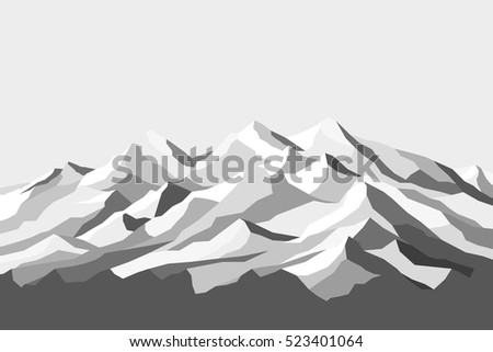 vector mountains grayscale