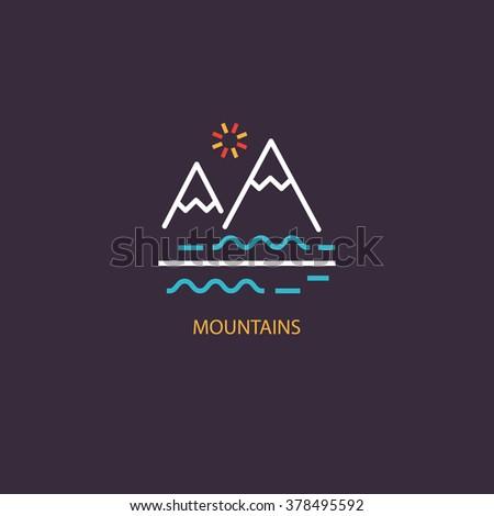 vector mountains icon symbol