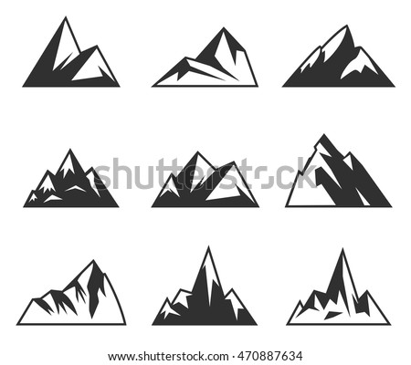 vector mountains icons isolated