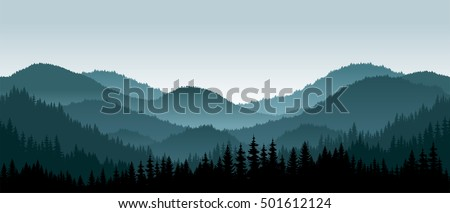 vector mountains landscape with