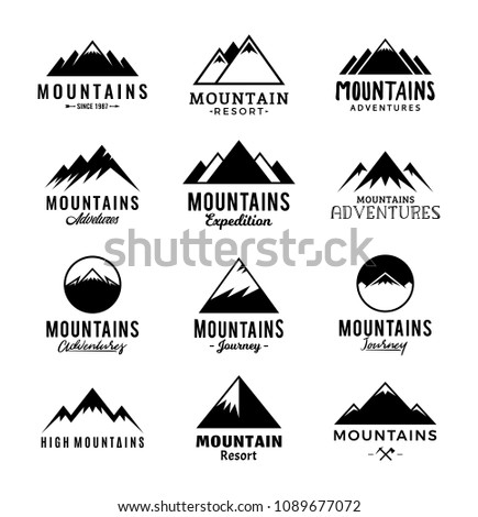 Vector mountains logo isolated on white. Mountains, rocks and peaks icons.