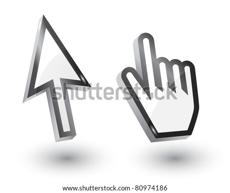 Vector mouse arrow  and hand pointers with shadow,3d