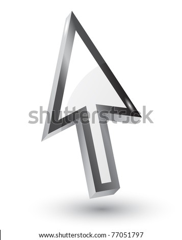 Vector mouse arrow pointers with shadow,3d