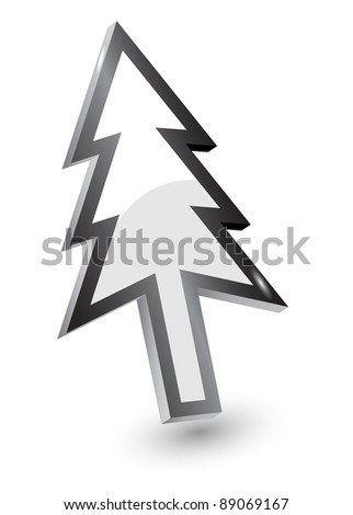 Vector mouse arrow pointers, Xmas tree version, 3d