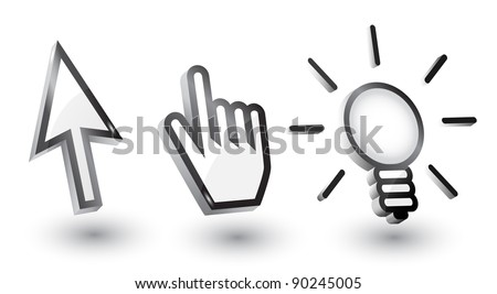 Vector mouse cursors (pointers): arrow, hand, bulb with shadow,3d