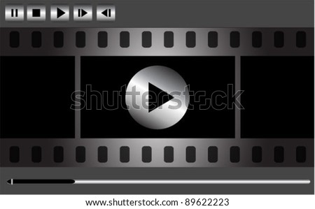 Vector movie player interface with film strip and metal buttons