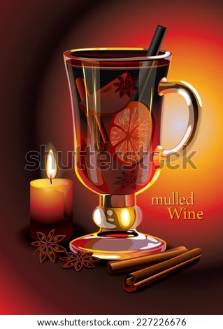 Vector mulled wine holiday drink.