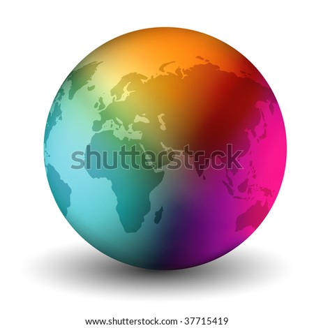 Vector Multicolor Earth Globe
