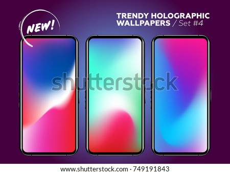 Vector Multicolor Holographic Wallpapers for Smartphone. Vibrant Gradients on Device Display. Blurred Colored Waves. Futuristic Patterns. Trendy Design. Abstract Liquid Fluid.