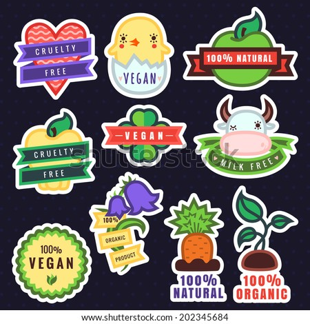 Vector multicolor vegan, cruelty free, natural and organic products stickers