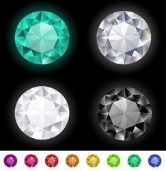 Vector multicolored gemstones collection