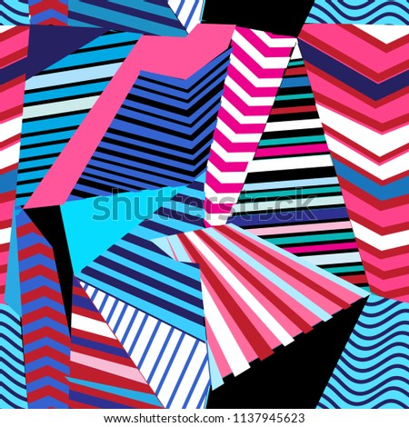 Vector multicolored seamless pattern with geometric striped elements