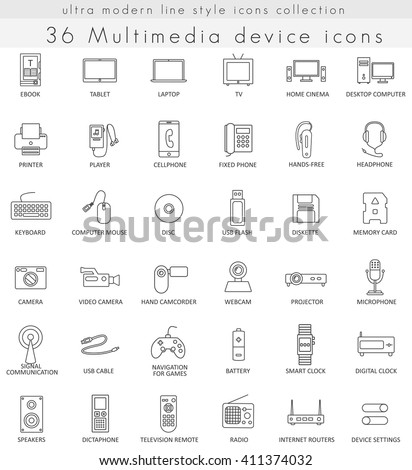 Vector Multimedia Devices ultra modern outline line icons for web and apps.