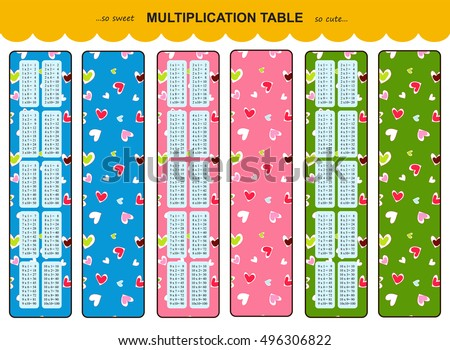 Vector Multiplication Table. Printable Bookmarks Or Stickers With Multiple  Tables. Cute Background With Hearts
