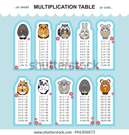 Vector multiplication table. Printable bookmarks or stickers with Multiple tables. Kids design, Kawaii illustration on each bookmarks. Bear, mole, raccoon, rabbit, mouse, squirrel, panda, koala arts