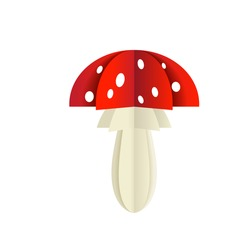 Vector mushroom from a paper on a white background. Poisonous fly agaric from triangles.
