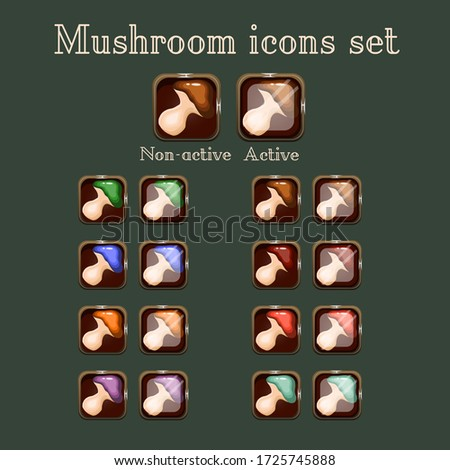 vector mushroom game buttons