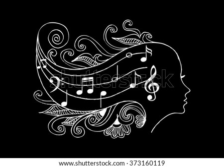 vector music a woman head