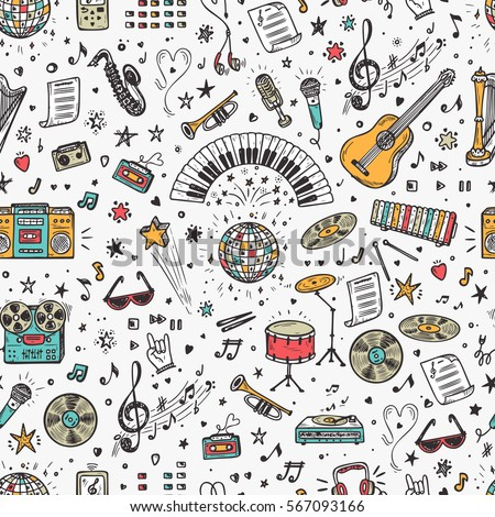 Vector Music background. Seamless pattern with Hand drawn doodle Musical Instruments, Retro musical equipment.